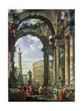Roman Capriccio, 18th Century Impression giclée par Giovanni Paolo Pannini