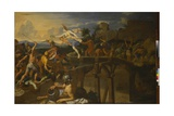 Horatius Cocles Defending the Bridge Giclee Print by Charles Le Brun