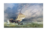 A Dutch Beurtman Aground on the Terschelling Sands or in the North Sea after a Snowstorm, 1865 Giclee Print by Edward William Cooke