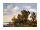 River Landscape with Ferry Boat, 1650 Giclee Print by Salomon van Ruisdael or Ruysdael