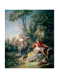 Lovers in a Park Giclee Print by Francois Boucher