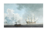 English Ships of War, One Firing a Salute Giclee Print by Robert Cleveley