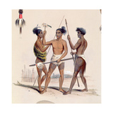 Maori Warriors Preparing for Battle, from the 'New Zealand Illustrated', C.1846 Giclee Print by George French Angas