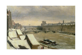 View of the Louvre in Winter Giclee Print by Hippolyte Victor Valentin Sebron