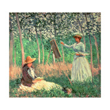 In the Woods at Giverny: Blanche Hoschede at Her Easel with Suzanne Hoschede Reading, 1887 Giclee Print by Claude Monet