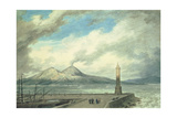 Vesuvius and Somma from the Mole at Naples, 18th Century Giclee Print by John Robert Cozens