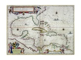 "Caribbean and Central America: from the Atlas ""Toonneel Des Aer Drycx"", Vol II, Published, 1650 Giclee Print by Joan Blaeu"