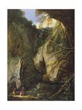 Rocky Landscape Giclee Print by Salvator Rosa
