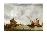 Ships at Anchor in a Calm Giclee Print by Jan Van De Capelle Or Cappelle