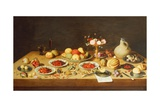Still Life with Fruit and Flowers on a Table Giclee Print by Jan van the Elder Kessel