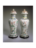 Pair of Chinese Export Famille Verte Vases and Covers, Kangxi Period (1662-1722) Giclee Print by Qing Dynasty Chinese School