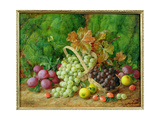 Still Life with Plums, Apples and Baskets of Grapes Giclee Print by George Clare