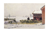 Feeding the Sheep in Winter Giclee Print by Robert Weir Allan