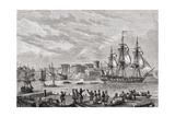 Brest in 1791, Engraved by Le Breton, from 'Histoire De La Revolution Francaise' by Louis Blanc… Giclee Print