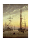 View of a Harbour, 1815-16 Gicléedruk van Caspar David Friedrich