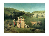 Young Women of the Village Giving Alms to a Cowherd, 1852 Giclee Print by Gustave Courbet