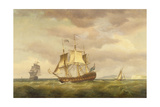 An East India Man in Stays Off the Downs with the Channel in the Background Giclee Print by Thomas Whitcombe