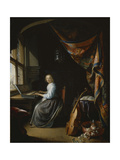A Lady Playing the Clavichord Giclee Print by Gerrit Dou