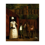 A Negro Mother and Son with a Pony Outside a Stable Giclee Print by Agostino Brunias