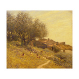 A Hillside Village in Provence Giclee Print by Henry Herbert La Thangue
