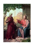 Christ and the Woman of Samaria at the Well, 1854 Giclee Print by Moritz Daniel Oppenheim