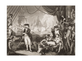 Scene on the Deck of the Queen Charlotte, 1st June 1794, Illustration from 'England's Battles by… Giclee Print by Mather Brown