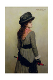 Denise - Portrait of Young Girl with a Red Umbrella, 1885 Giclee Print by Herbert Gustave Schmalz