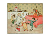 The Cat and the Fiddle and the Children's Party Illustration from Hey Diddle Diddle Giclee Print by Randolph Caldecott