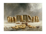 Stonehenge in Winter Giclee Print by Walter Williams