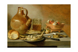 Still Life with Jug, Herring and Smoking Requisites, 1644 Giclee Print by Pieter Claesz