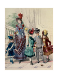 Mother and Children in Indoor Costume, French Fashion Plate Giclee Print by Jules David