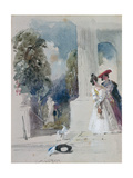 Two Ladies Standing Beside a Pillared Portico Giclee Print by Samuel Austin