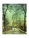 A Moonlit Road, 19th Century Giclee Print by John Atkinson Grimshaw