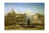 The Piazza San Pietro in Rome at the Time of a Papal Blessing, 1850 Giclee Print by Grigori Grigor'evich Chernetsov