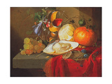 An Oyster, a Glass of Wine and Fruit on a Table Covered with a Red Velvet Drape Giclee Print by Elias Van Den Broeck