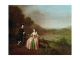 Sir George and Lady Strickland in the Grounds of Boynton Hall, Near Bridlington, Yorkshire, 1751 Giclee Print by Arthur Devis