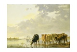 Cattle by a River, C.1650 Giclee Print by Aelbert Cuyp