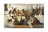 A Merry-Go-Round on the Ice, 1888 Giclee Print by Robert Barnes