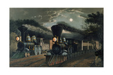 The 'Lightning Express' Trains, Pub. by Currier and Ives, New York, 1863 Giclee Print by Frances Flora Bond Palmer