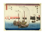 Sailing Boats at Arai, from the Series '53 Stations of the Tokaido', Pub. by Hoeido, Late 1840's Giclee Print by Ando or Utagawa Hiroshige
