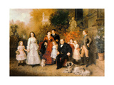 Family of the Businessman B. H. Strousberg Giclee Print by Ludwig Knaus