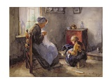 The Sewing Lesson Giclee Print by Louis Lammert van der Tonge