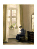 A Girl Sewing in an Interior Giclee Print by Carl Holsoe