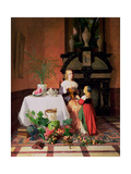Interior with Figures and Fruit Giclee Print by David Emil Joseph de Noter