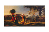 Italian Peasant Women in the Campagna Driving an Ox Giclee Print by George Hemming Mason