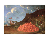 Still Life with a Basket of Wild Strawberries Giclee Print by Luis Menendez Or Melendez