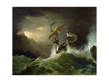 A First Rate Man-Of-War Driven onto a Reef of Rocks, Floundering in a Gale Giclee Print by George Philip Reinagle