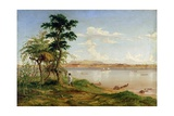 Town of Tete from the North Shore of the Zambesi Giclee Print by Thomas Baines