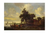 River Landscape with Ferry, 1633 Giclee Print by Salomon van Ruisdael or Ruysdael