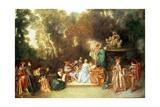 Recreation Galante, 1717-18 Giclee Print by Jean Antoine Watteau